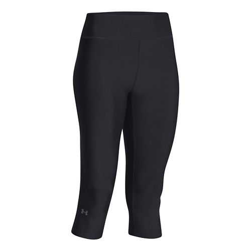 Womens Under Armour HeatGear Compression 17 Capri Tights - Black/Silver L