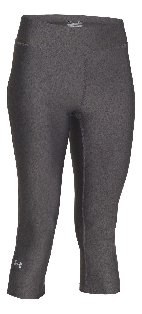 Womens Under Armour HeatGear Compression 17 Capri Tights - Carbon/Silver XS