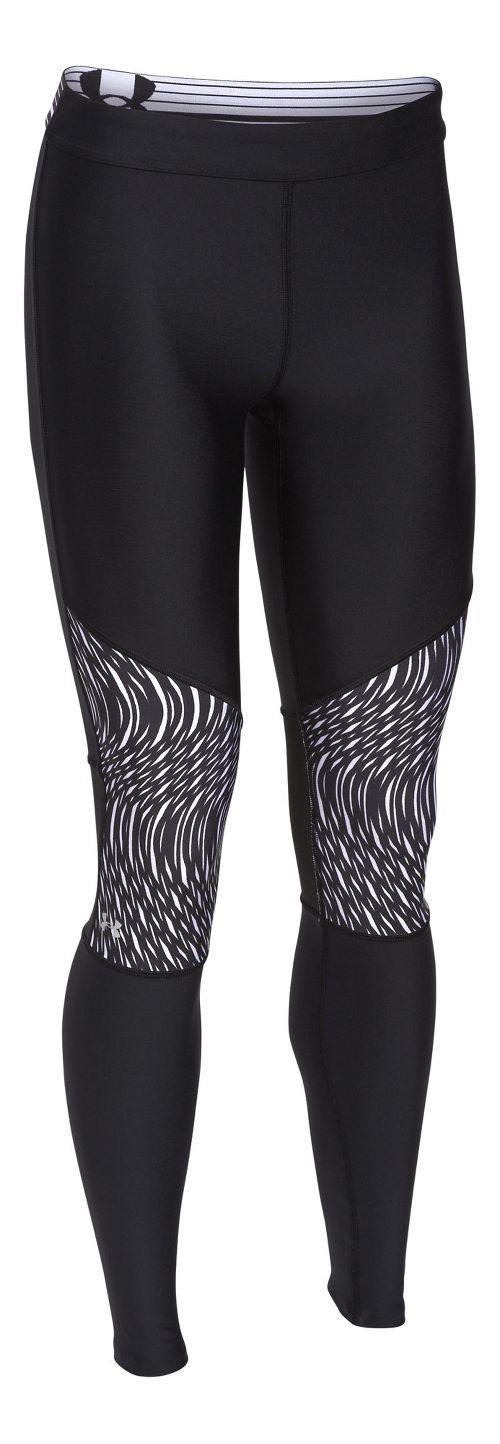 Womens Under Armour HeatGear Print Inset Legging Full Length Tights - Black/Black M