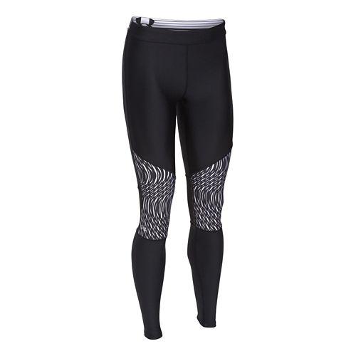 Womens Under Armour HeatGear Print Inset Legging Full Length Tights - Black/Black XL