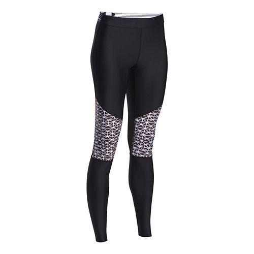 Womens Under Armour HeatGear Print Inset Legging Full Length Tights - Black/White XS