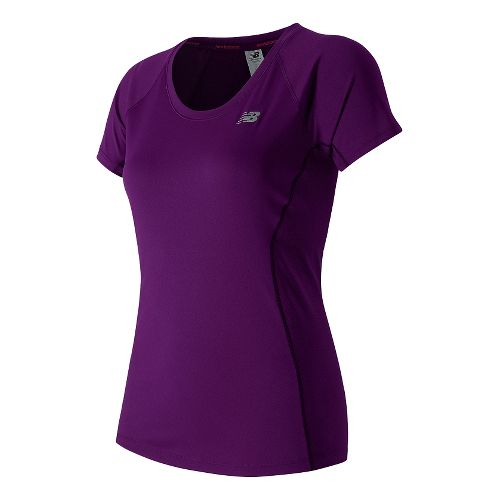 Womens New Balance Ice Short Sleeve Technical Tops - Imperial Purple XL