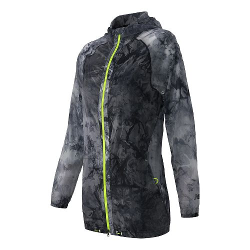 Womens New Balance Woven Packable Lightweight Jackets - Black Print XS