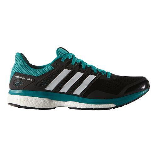 Mens adidas Supernova Glide 8 Running Shoe - Black/Equipment Green 6.5