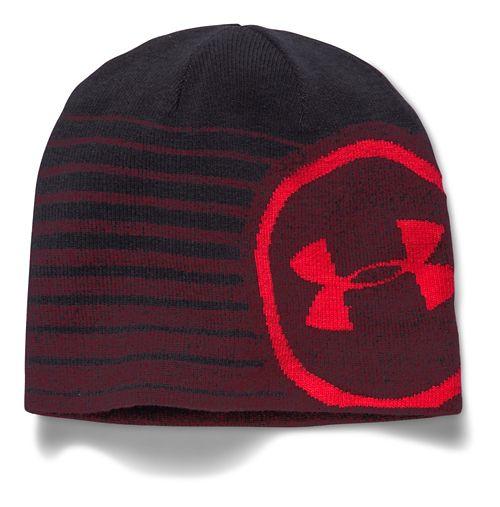 Mens Under Armour Billboard Beanie 2.0 Headwear - Deep Red/Red