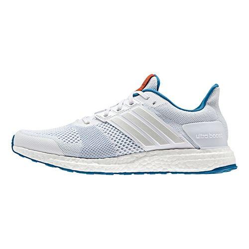 Mens adidas Ultra Boost ST Running Shoe - White/Blue/Chili 7.5