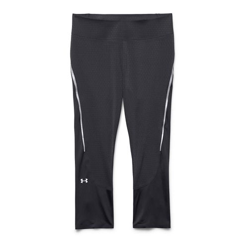 Womens Under Armour ClutchFit Capri Tights - Black/Silver XS