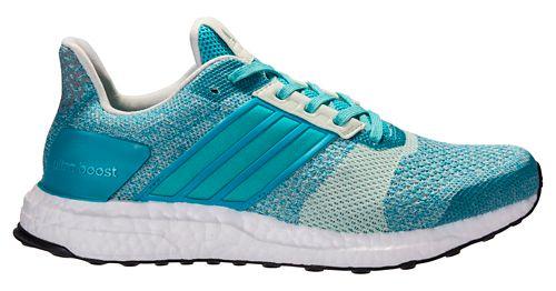 Womens adidas Ultra Boost ST Running Shoe - Green/Silver 11