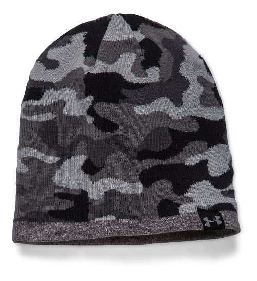 Mens Under Armour 2-Way Camo Beanie Headwear - Steel/Lead