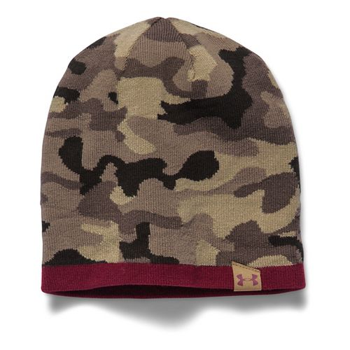 Mens Under Armour 2-Way Camo Beanie Headwear - Canvas/Red