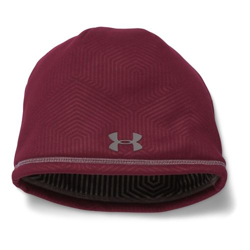 Mens Under Armour Elements Beanie 2.0 Headwear - Deep Red/Tan Stone
