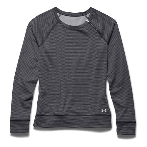Womens Under Armour ColdGear Cozy Zip Crew Long Sleeve Half Zip Technical Tops - Black/Silver ...