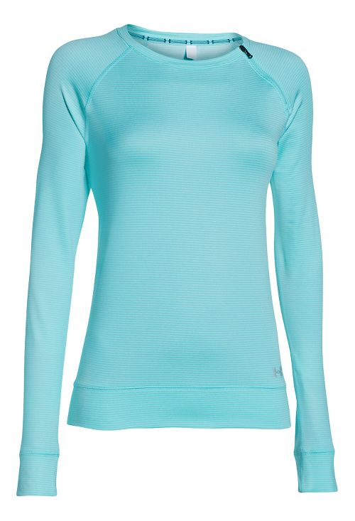 Womens Under Armour ColdGear Cozy Zip Crew Long Sleeve Half Zip Technical Tops - Veneer/Silver M