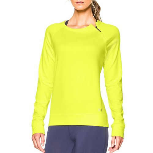 Womens Under Armour ColdGear Cozy Zip Crew Long Sleeve Half Zip Technical Tops - Flash ...