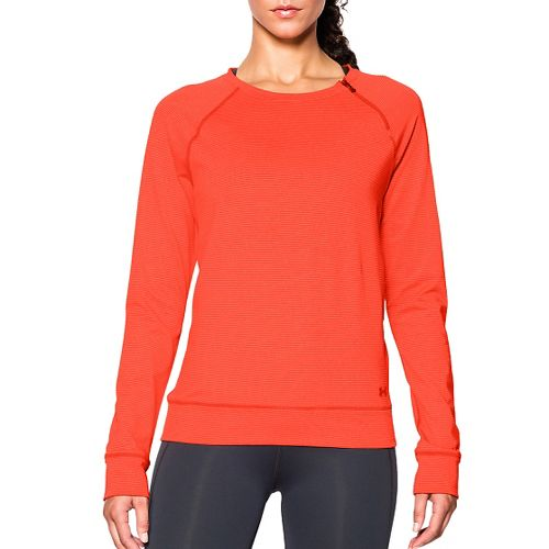 Womens Under Armour ColdGear Cozy Zip Crew Long Sleeve Half Zip Technical Tops - Dark ...