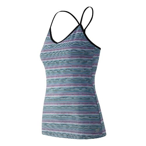 Womens New Balance Strappy Long Bra Tank Technical Tops - Imperial Purple S