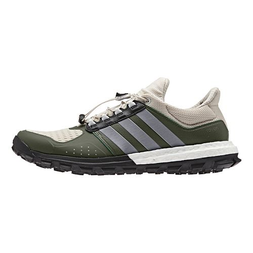 Mens adidas Raven Boost Trail Running Shoe - Green/Brown 8.5