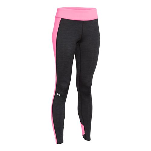 Womens Under Armour ColdGear Colorblock Legging Full Length Tights - Black/Pink Punk S
