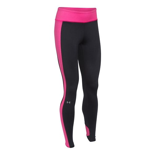 Womens Under Armour ColdGear Stripe Inset Legging Full Length Tights - Black/Rebel Pink S