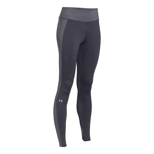 Womens Under Armour ColdGear Stripe Inset Legging Full Length Tights - Grey/Silver M