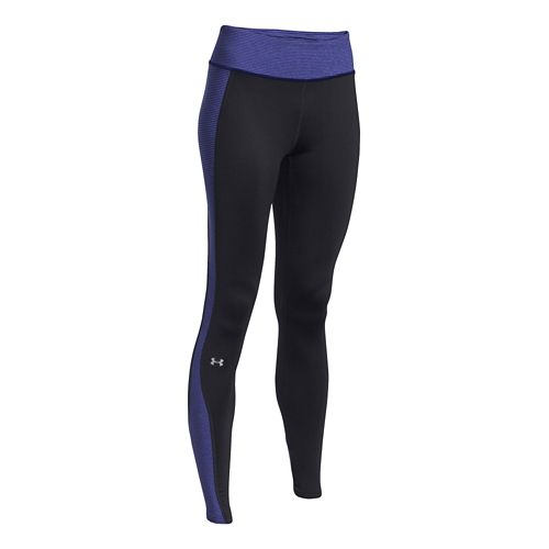 Womens Under Armour ColdGear Stripe Inset Legging Full Length Tights - Black/Europa Purple S