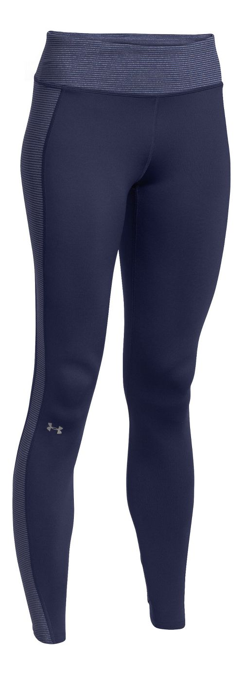 Womens Under Armour ColdGear Stripe Inset Legging Full Length Tights - Blue Knight/Silver M