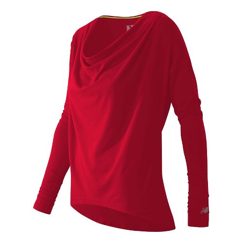 Draped Layer Long Sleeve Top Long Sleeve No Zip Technical Tops - Cerise L