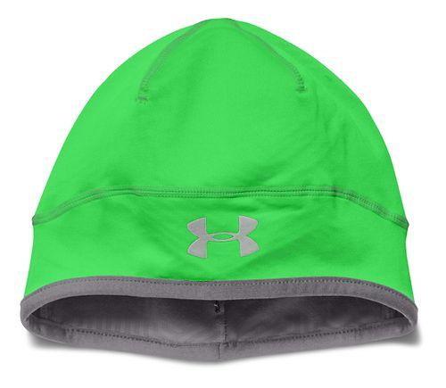 Mens Under Armour ColdGear Infrared Run Beanie Headwear - Poison/Graphite