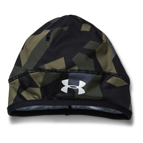 Mens Under Armour Coldgear Infrared Run Beanie Headwear - Greenhead/Green