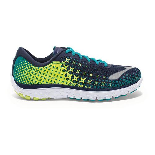 Womens Brooks PureFlow 5 Running Shoe - Navy/Neon 7.5