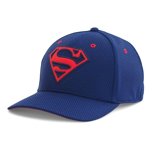 Mens Under Armour Superman Low Crown Cap Headwear - Midnight Navy/Red XL/XXL