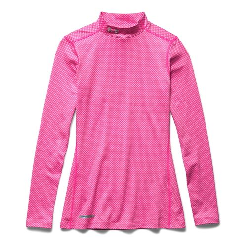 Womens Under Armour ColdGear Printed Mock Long Sleeve No Zip Technical Tops - Rebel Pink/Shadow ...