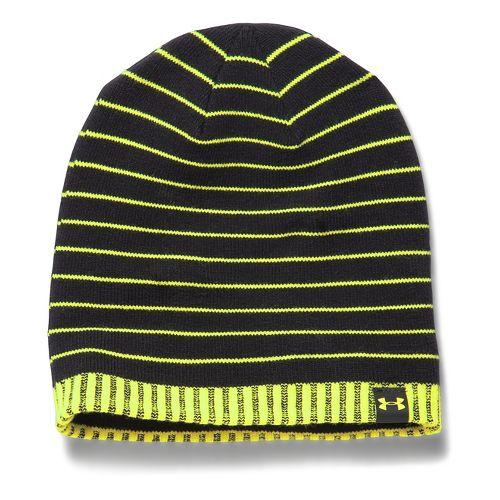 Kids Under Armour Cuff Stripe Beanie Headwear - Black/Black