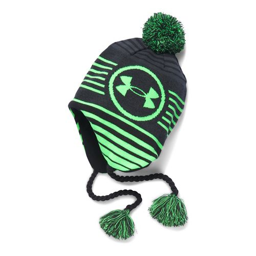 Under Armour Boys Tassel Beanie Headwear - Stealth Grey/Lime
