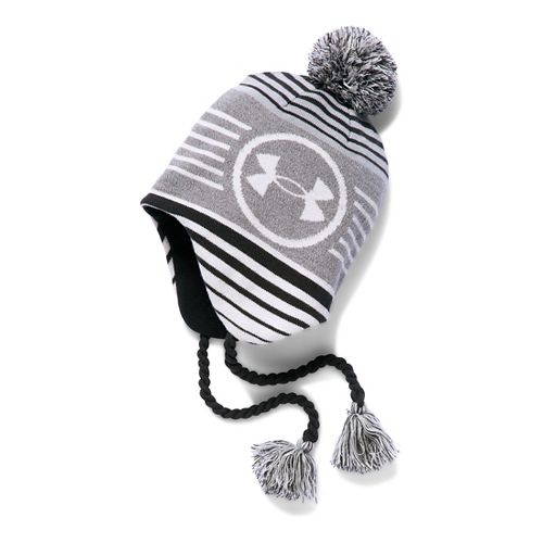 Under Armour Boys Tassel Beanie Headwear - Grey Heather/Black