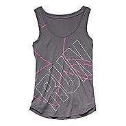 Womens Under Armour Oversized  Run Graphic Tank Technical Tops - Graphite/Rebel Pink S