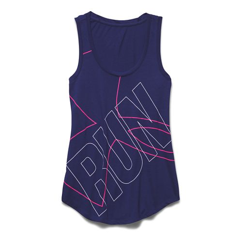 Womens Under Armour Oversized  Run Graphic Tank Technical Tops - Europa Purple/Pink L