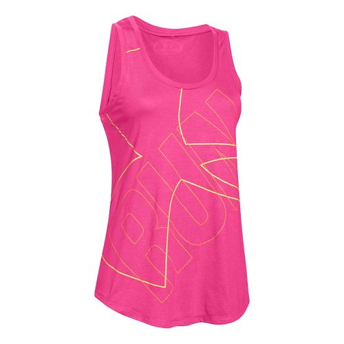 Womens Under Armour Oversized  Run Graphic Tank Technical Tops - Rebel Pink/Yellow M