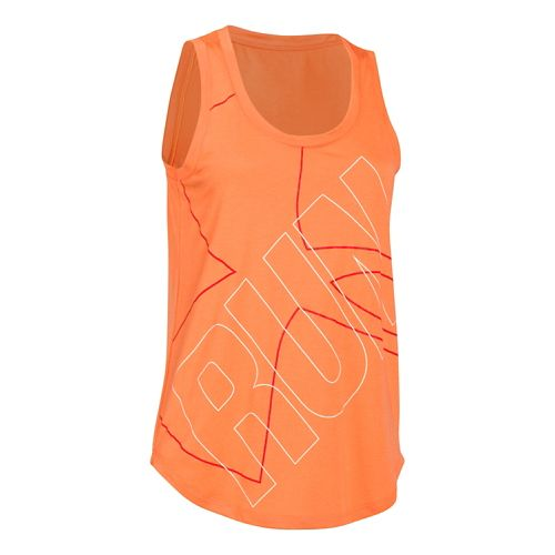 Womens Under Armour Oversized  Run Graphic Tank Technical Tops - Cyber Orange/Orange L