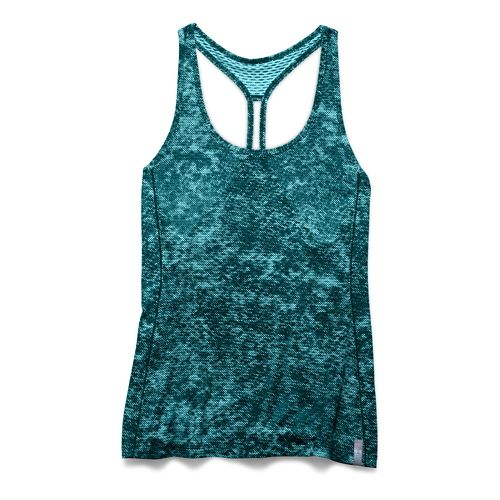 Womens Under Armour Fly By Allover Printed Mesh Tank Technical Tops - Veneer Black L ...