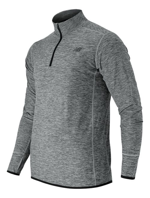 Mens New Balance N Transit Quarter Zip Long Sleeve Technical Tops - Athletic Grey L