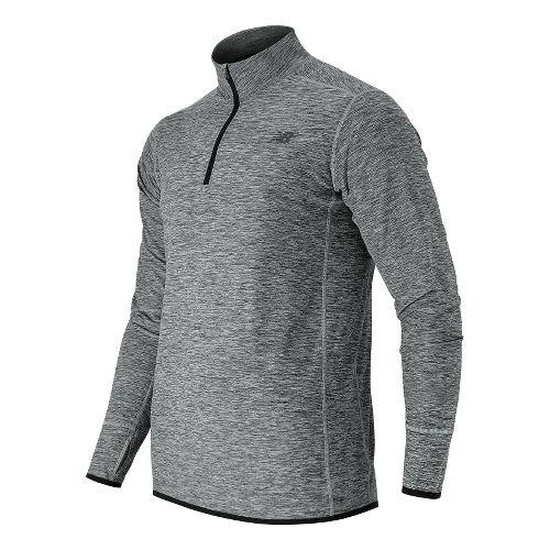Mens New Balance N Transit Quarter Zip Long Sleeve Technical Tops - Athletic Grey S ...