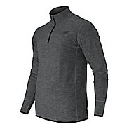 Mens New Balance N Transit Quarter Zip Long Sleeve Technical Tops - Heather Charcoal S