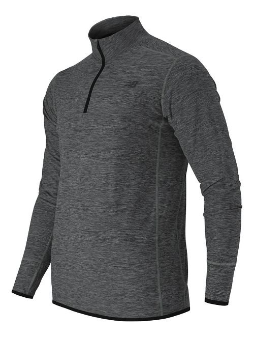 Mens New Balance N Transit Quarter Zip Long Sleeve Technical Tops - Heather Charcoal XL