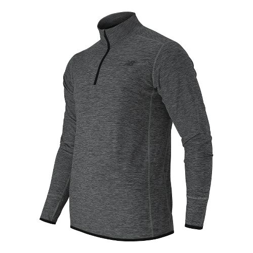 Mens New Balance N Transit Quarter Zip Long Sleeve Technical Tops - Heather Charcoal L ...
