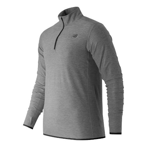 Mens New Balance N Transit Quarter Zip Long Sleeve Technical Tops - Heather Grey XXL ...