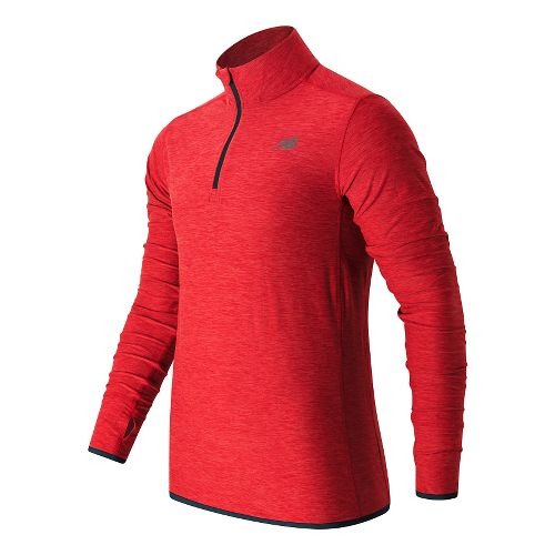 Mens New Balance N Transit Quarter Zip Long Sleeve Technical Tops - Atomic Heather S ...