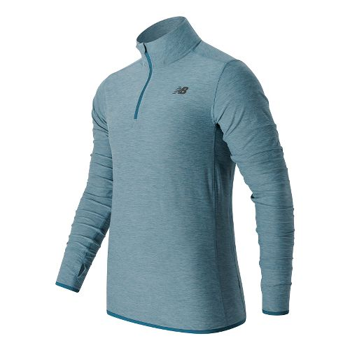 Mens New Balance N Transit Quarter Zip Long Sleeve Technical Tops - Riptide Heather XXL ...