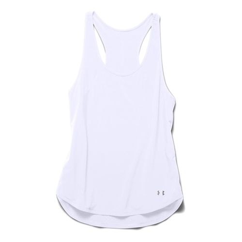 Womens Under Armour Stunner Woven Tank Technical Tops - White/White XS