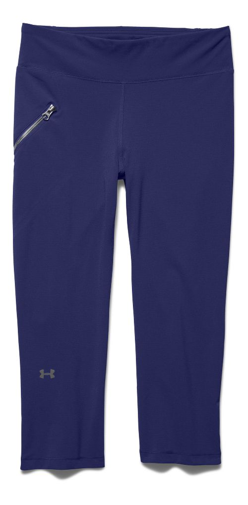 Womens Under Armour Stunner Stretch Woven Capri Tights - Europa Purple L